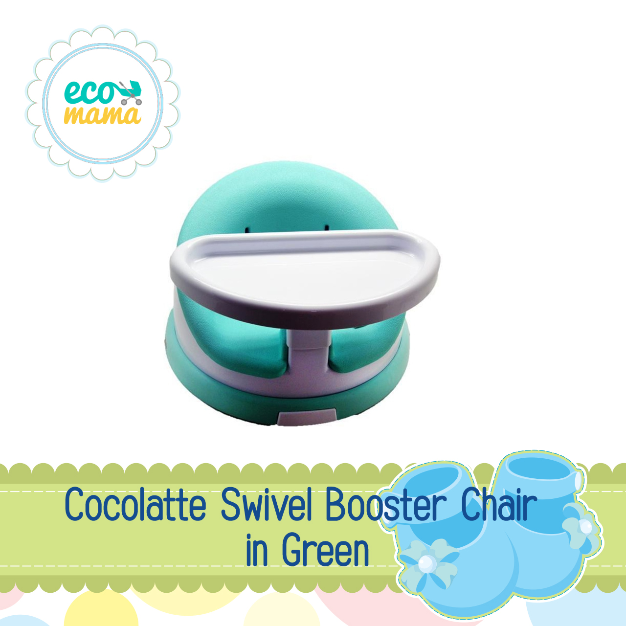 Cocolatte Swivel Booster Chair in Green