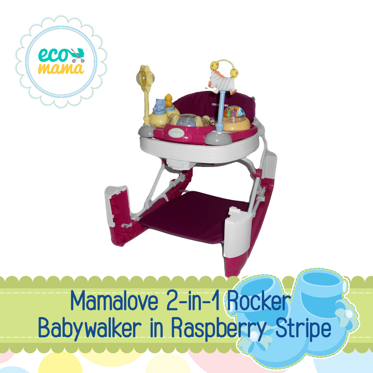 Mamalove 2in1 Rocker & Baby Walker Raspberry