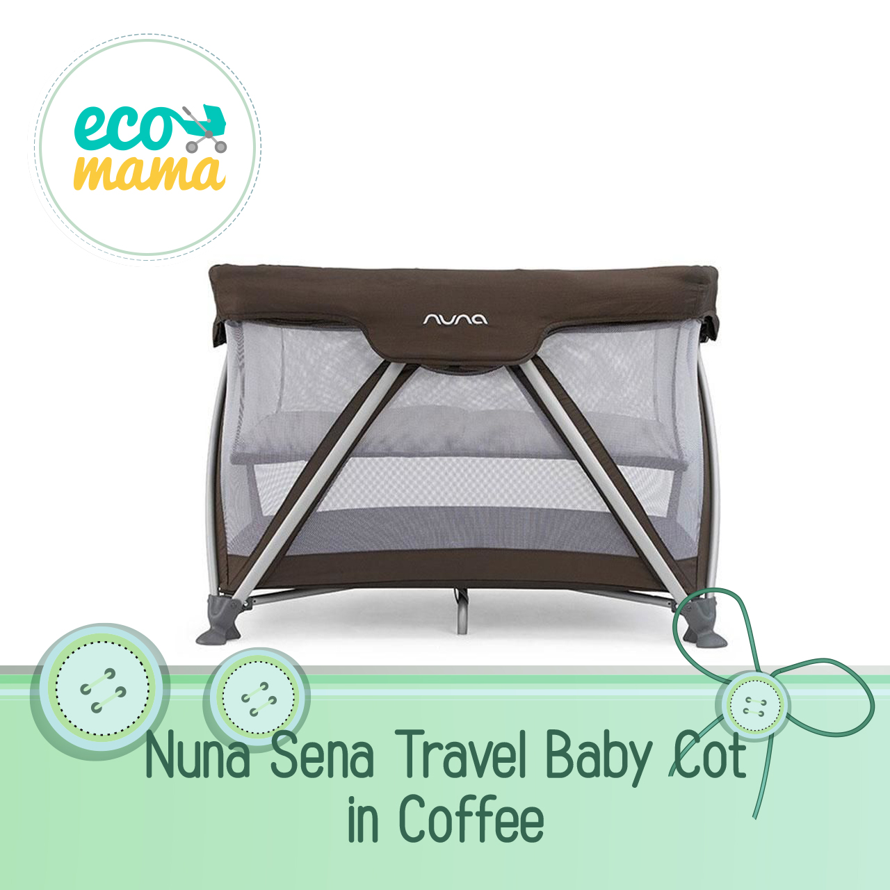 Nuna Sena Travel Crib in Coffee