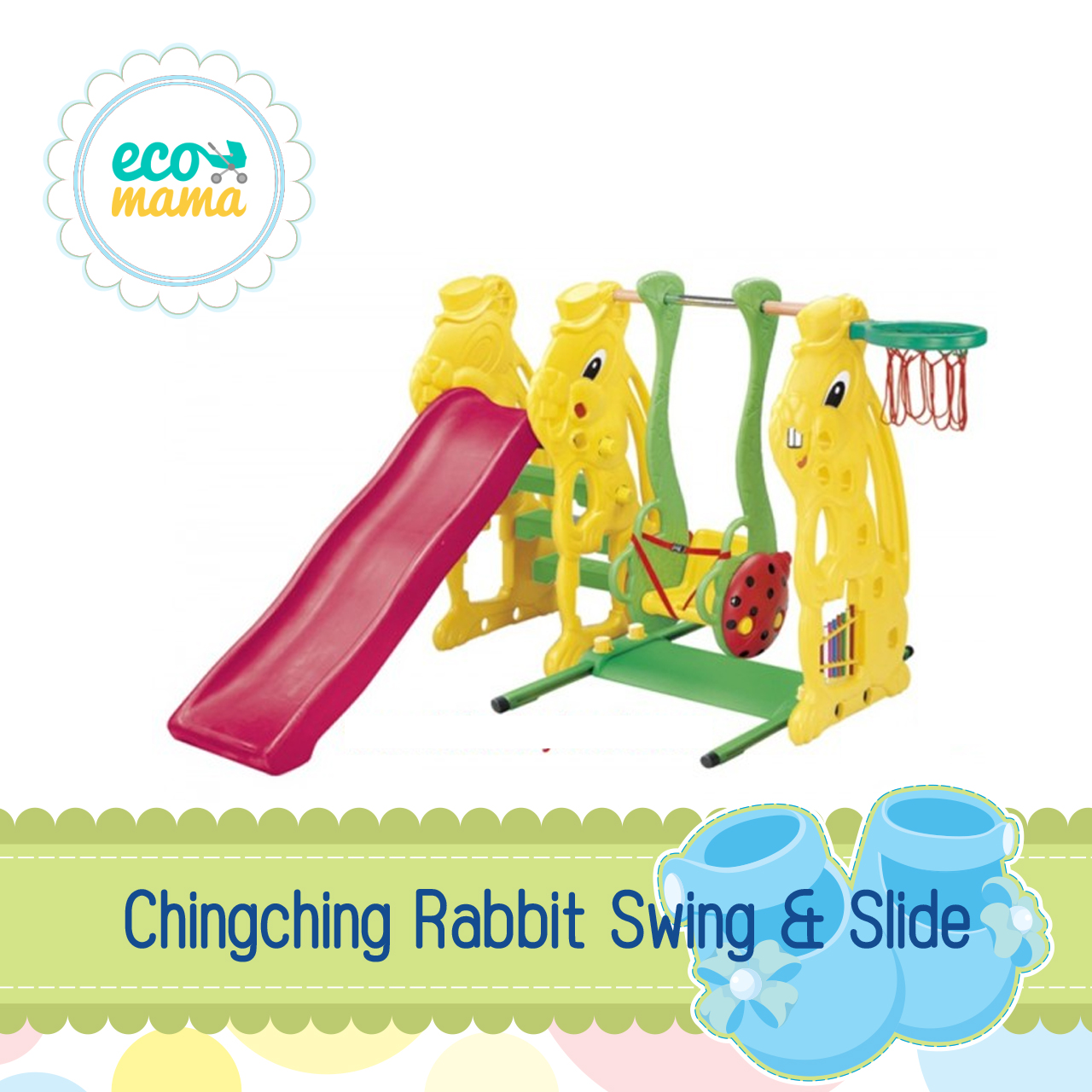 Chingching Rabbit Swing Slide with Basket Ring
