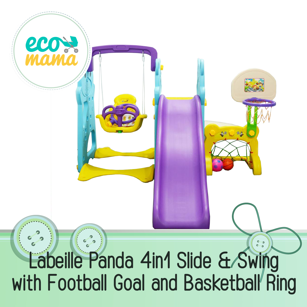 Labeille Panda 4in1 Swing Slide with Football Goal and Basketball Ring
