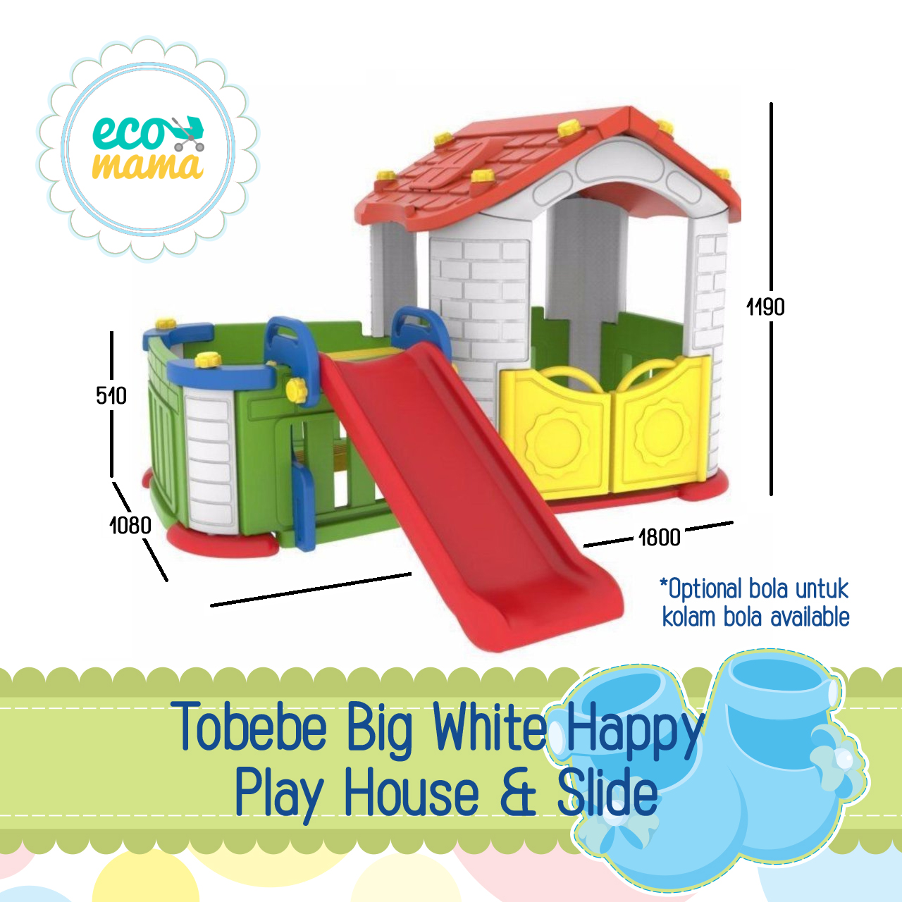 Tobebe Big Playhouse with Slide